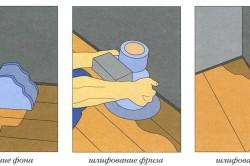 Схема заделки щелей и шлифование деревянного пола.