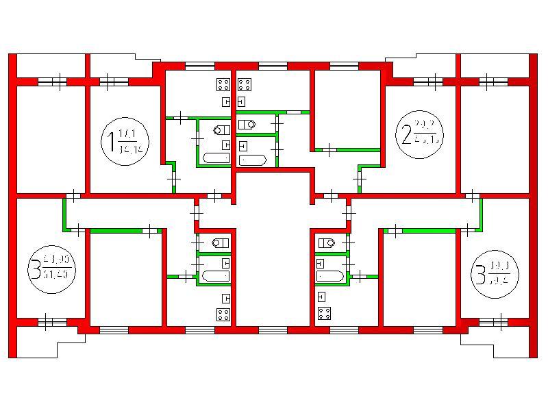 Перепланировка 3-х комнатной квартиры в кирпичном