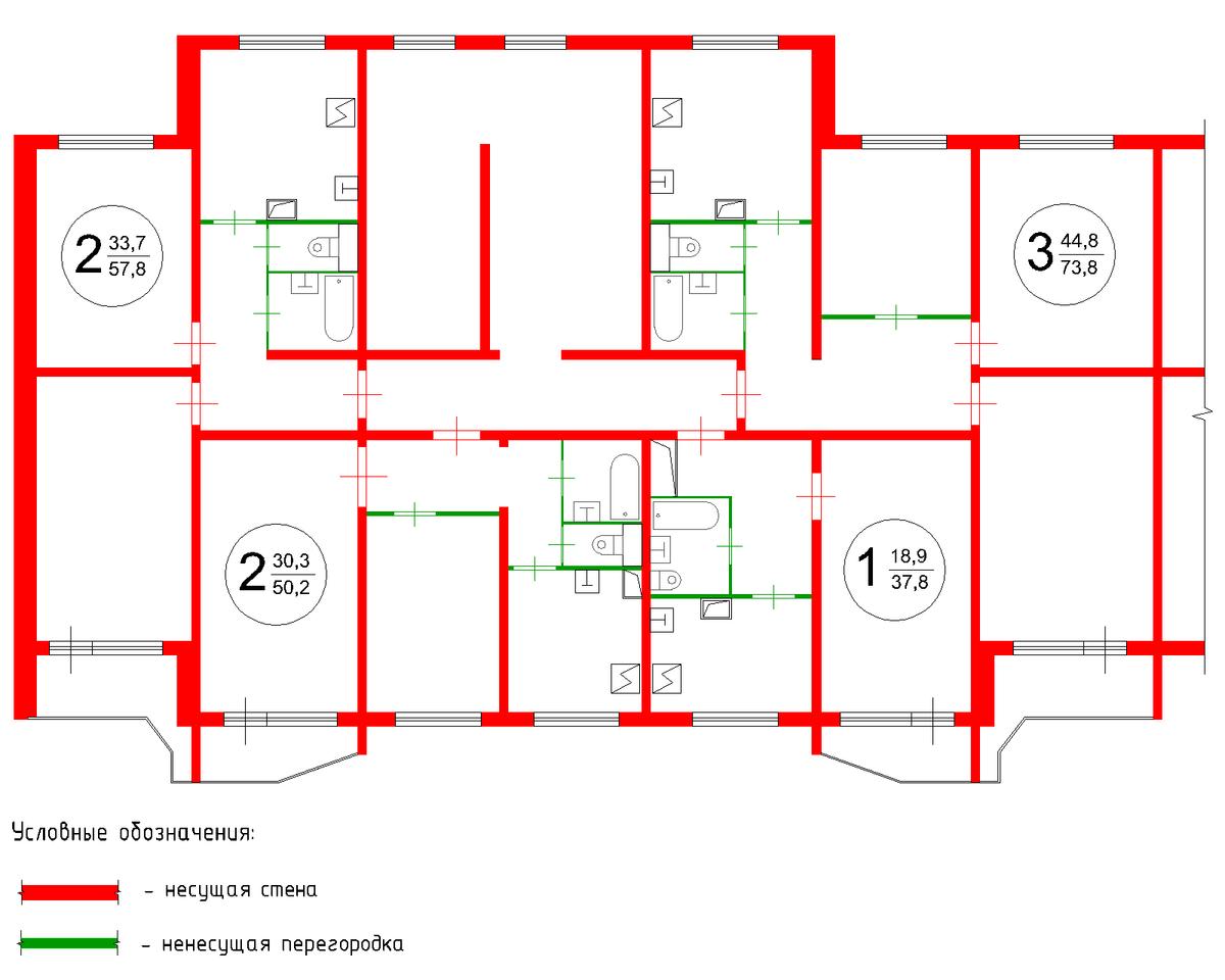 Перепланировка двухкомнатной квартиры в башне вулыха у м